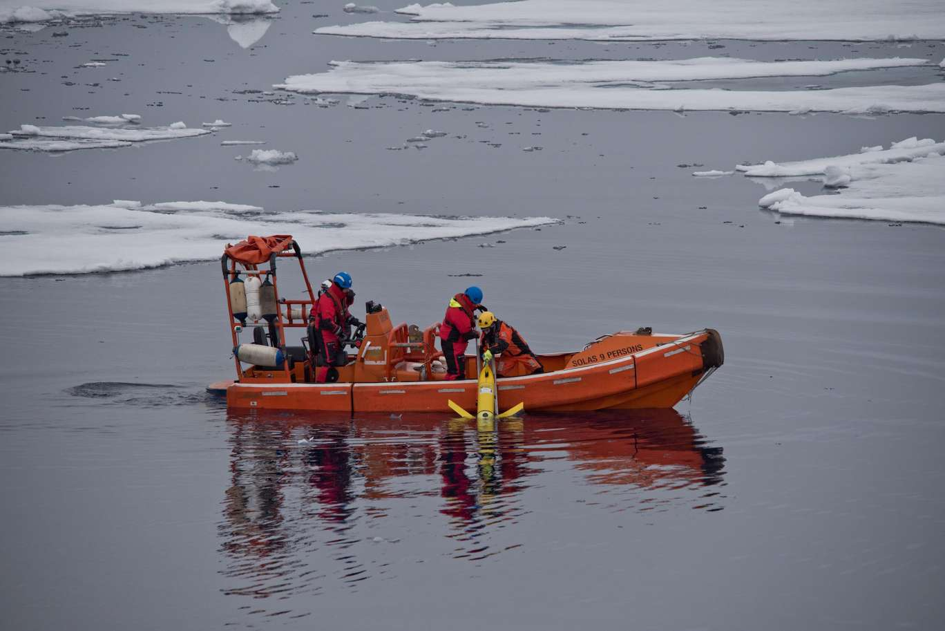 Underwater glider being deployed on Arctic waters during the 2018 REP18 / High North cruise